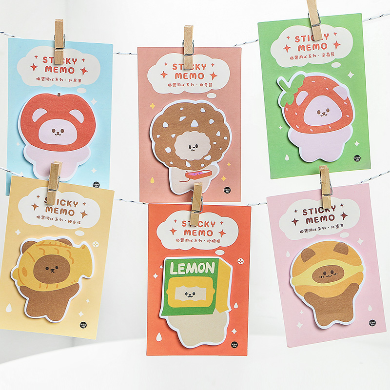 6pcs Cosplay Bear Sticky Memo Note Pad Lemon Hamburger Adhesive Post Stick Marker It Planner Diary Stickers Office School A6133