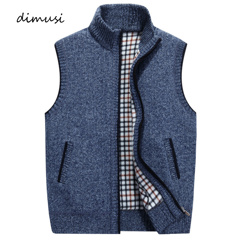 DIMUSI Autumn Winter Men Vests Casual Male Knitted Cardigan Waistcoat Thermal Vests Mens Windproof Sleeveless Jackets Clothing