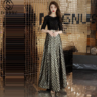 Skyyue A Line Evening Dress O Neck Half Sleeve Sequined Women Party Dresses Ankle Length Plus Size Formal Robe De Soiree E469
