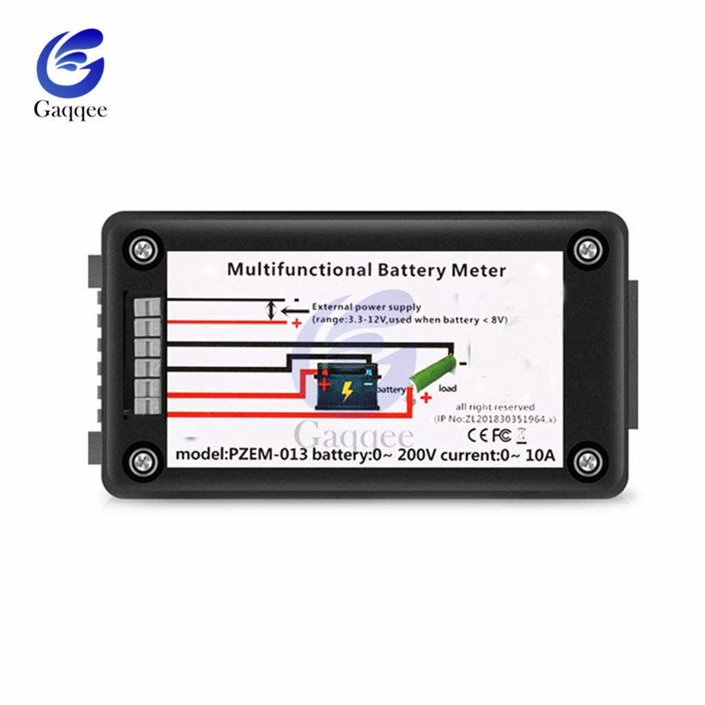 DC 0-200V voiture batterie capacité testeur moniteur tension courant résistance capacité puissance énergie mètre 0-200V 10A intégré Shunt
