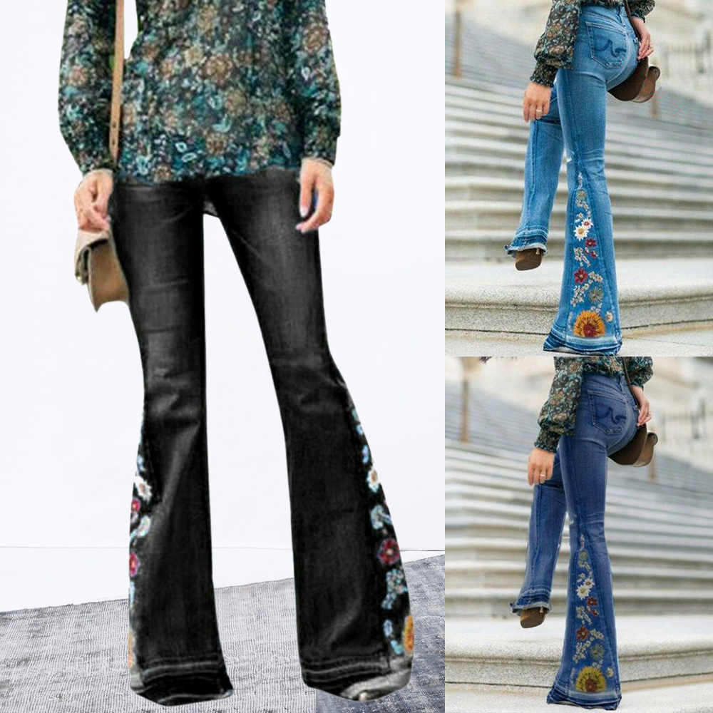 Vintage Black Denim Ruffle Bell Bottom Skinny Flared Crop Jeans High Waist