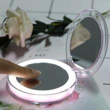 Складной круглый светодиодный макияж зеркала портативный Перезаряжаемый косметическое зеркало с 3X увеличительным зеркалом светодиодный Miroir