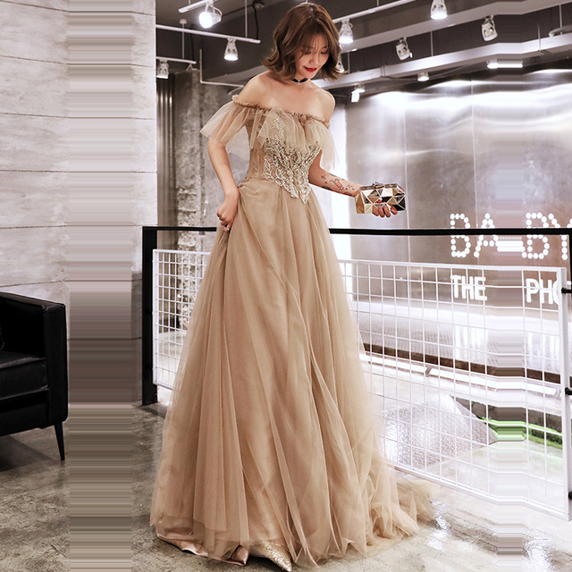 It's Yiiya Evening Dress Elegant Boat Neck Ruffles Long Women Party Dresses Off Shoulder Beading Plus Size Formal Gowns E690 1