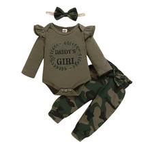 Recém-nascido livre navio roupas do bebê conjunto da menina do exército verde manga longa meninas macacão e camo calças queda roupa bebê infantil