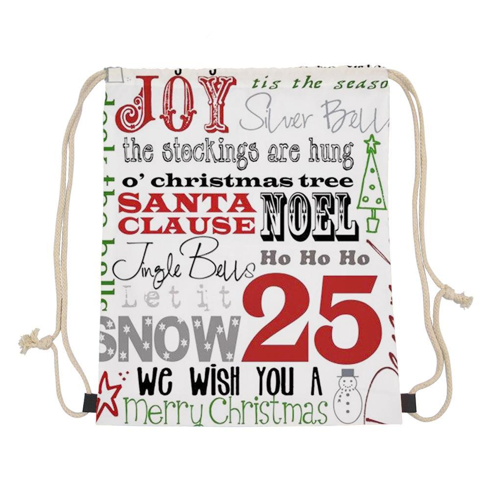 WHEREISART Merry Christmas Letter Drawstring Bag 3D Girl Boys Mochila String Runner Backpack Shoes Package Pouch Dropshipping