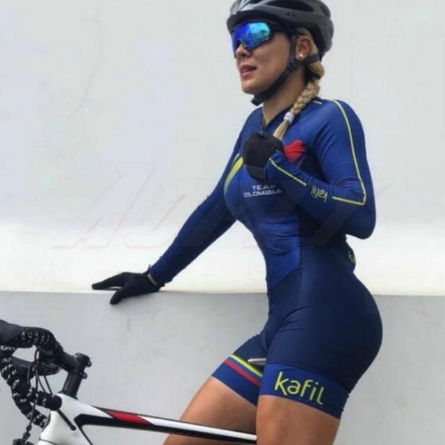 2020 Colômbia equipe kafitt Jumpsuit das mulheres camisa de Ciclismo Skinsuit Triathlon Maillot Ciclismo ropa ciclismo manga longa conjunto azul 2