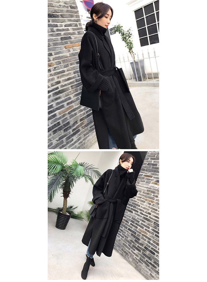 Liva girl Long Coat Winter Coat Women Belted Solid Coat Women's Jacket Women's 5 Colors Coat wool Coat 15