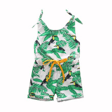 1-6Y Toddler Girls Clothes Banana Leaf Print Off Shoulder Strap Summer Romper Sleeveless Kids Playsuit One Pieces Jumpsuit banana leaf print cold shoulder top