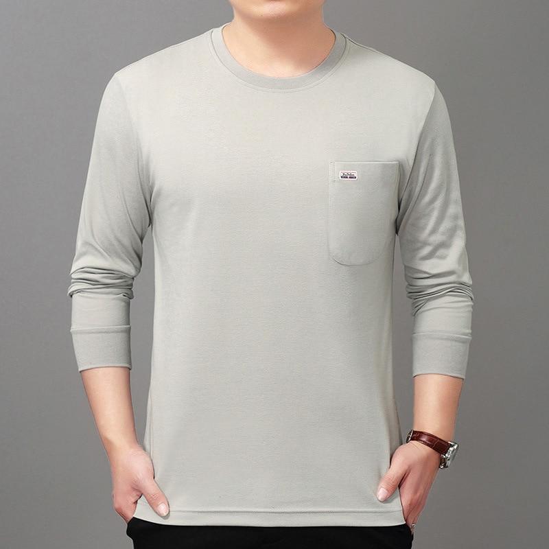 Мужская футболка с длинными рукавами и круглым вырезом для среднего возраста, Свободный пуловер с карманами, топ 40-50 лет, осенняя рубашка дл...