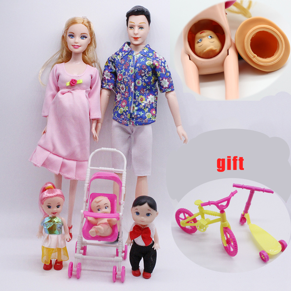 Bjd Doll 6pcs Happy Family Kit Toy Dolls Pregnant Big Belly Dolls Family Suit Pregnancy Doll Playsets Toys for Girls Baby Doll
