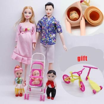 цена Bjd Doll 6pcs Happy Family Kit Toy Dolls Pregnant Big Belly Dolls Family Suit Pregnancy Doll Playsets Toys for Girls Baby Doll онлайн в 2017 году