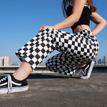 Women Plaid Pants High Wais Pants Drawstring Checkered Strai