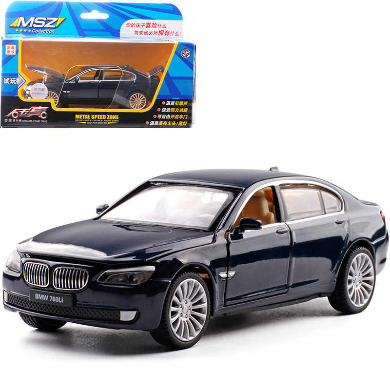 1:32 high simulation BMW 760LI alloy sound and light pull back car model children car toys for children gifts