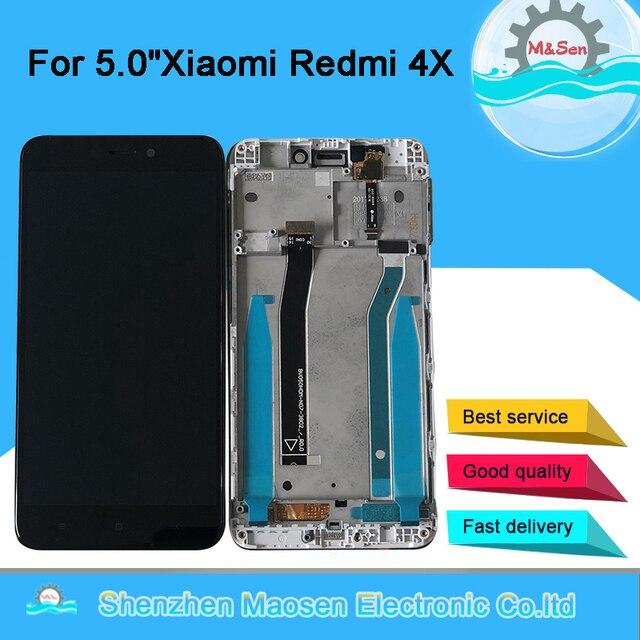 """5.0 """"Originele M & Sen Voor Xiaomi Redmi 4X Lcd scherm + Touch Panel Digitizer Met Frame Voor redmi 4X Display Ondersteuning 10Touch"""