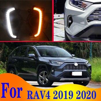 2pcs For Toyota RAV4 2018 2019 2020 LED Daytime Driving Running Light DRL Car Fog Lamp 6000K White Turn Yellow Turn Blue Light