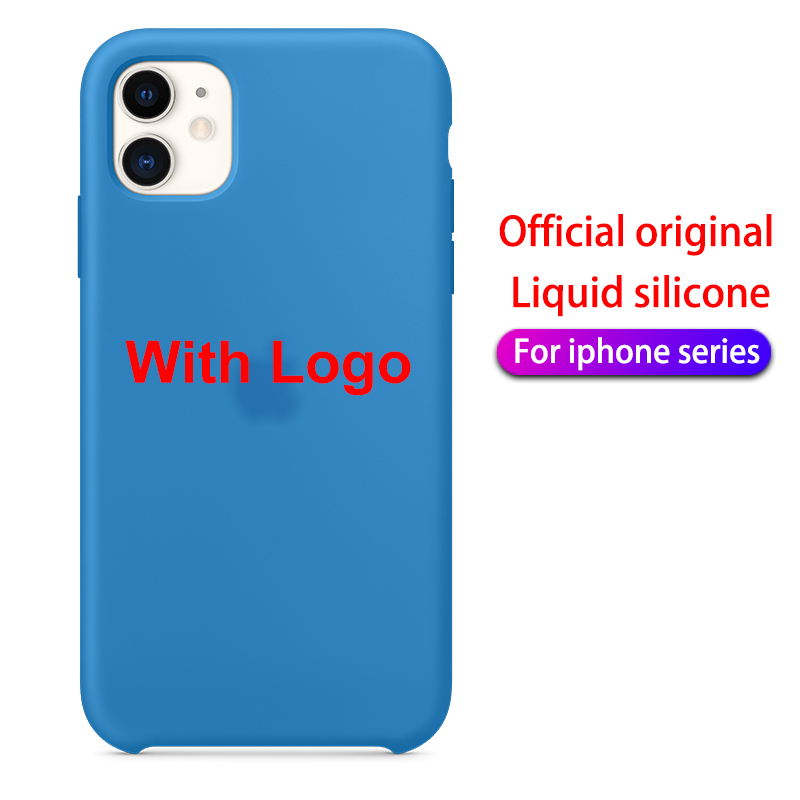With LOGO Official Silicone Case For iphone 7 8 6S 6 Plus 11 Pro X XS MAX XR 5 5S phone Case on Apple iphone 7 8 plus X 10 Cover