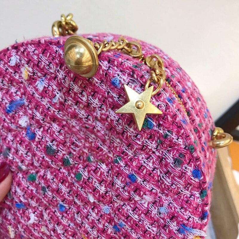 2019 moda redonda saco feminino circular bolsa de ombro crossbody com corrente sino estrelas tecido bolsa mulher festa bolsa - 5