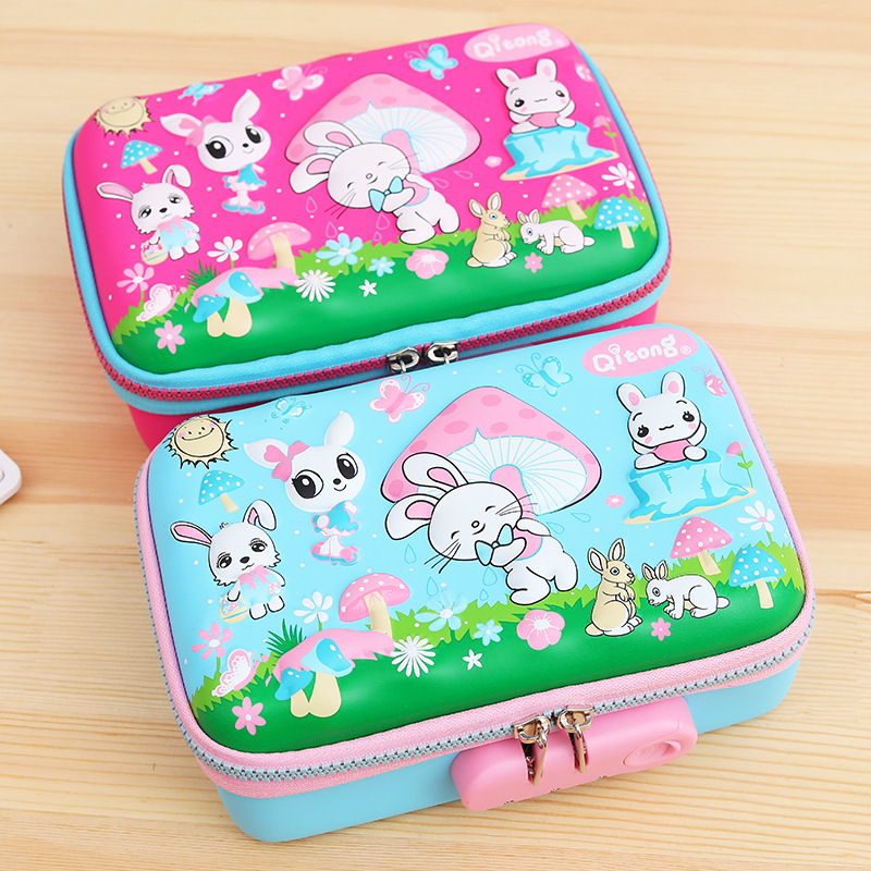 Kawaii School Pencil Case For Girls Boys Penal Cute 3D Pen Box Big Pencilcase With Lock EVA Penalties Stationery Large Pouch Bag