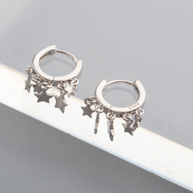 Trendy Europe and American Design Circle Geometric Hoop Earrings Multi Cute Tiny Stars Charms Holiday Silver 925 Wedding Jewelry in Earrings from Jewelry Accessories