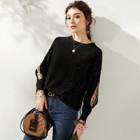 Black Sequin Sweater Women Sweaters and Pullovers Casual Knit Tops Ladies Knitted Shirts Vintage Polka Dot Mesh Long Sleeve Chic
