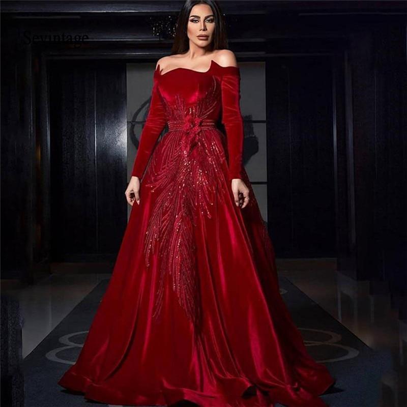 Sevintage 2020 Red Off Shoulder Celebrity Dresses Long Sleeve Velvet Red Carpet Dress Sequines Formal Evening Party Gowns