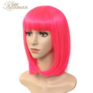 Бесплатная доставка, темно-розовый синтетический Боб, парики для женщин, короткий Боб, парик с челкой, поддельные волосы, фиолетовый, черный ...