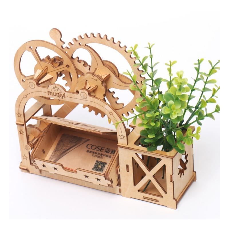 Rolife 3D Puzzle Toy Penholder Wooden Storage Box for Clip Children Boy Girls