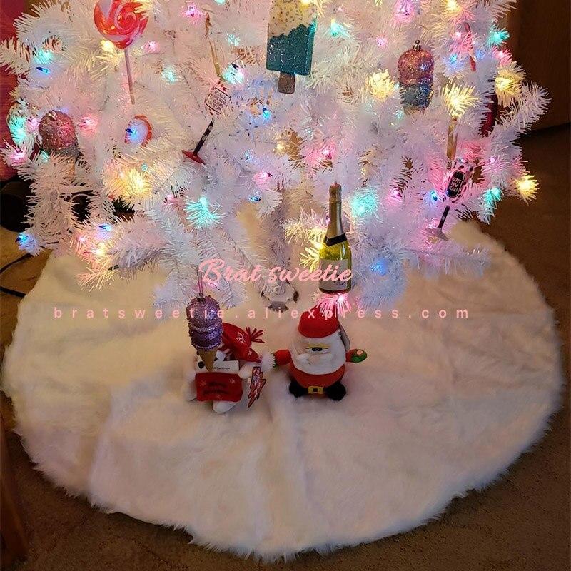 FREESOO Falda de /Árbol de Navidad Adornos 122CM Felpa Blanca Base Alfombra de /Árbol de Navidad Decoraci/ón para Fiesta de A/ño Nuevo Fiesta Vacaciones Casa