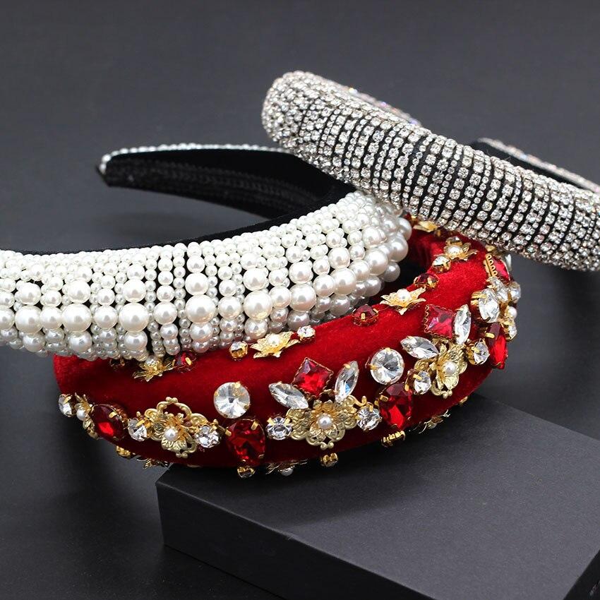 Exquisite And Exquisite Fashion Pearl Rhinestone Flower Headband Baroque Heavy Industry Fashion Wild Rhinestone Headband 792