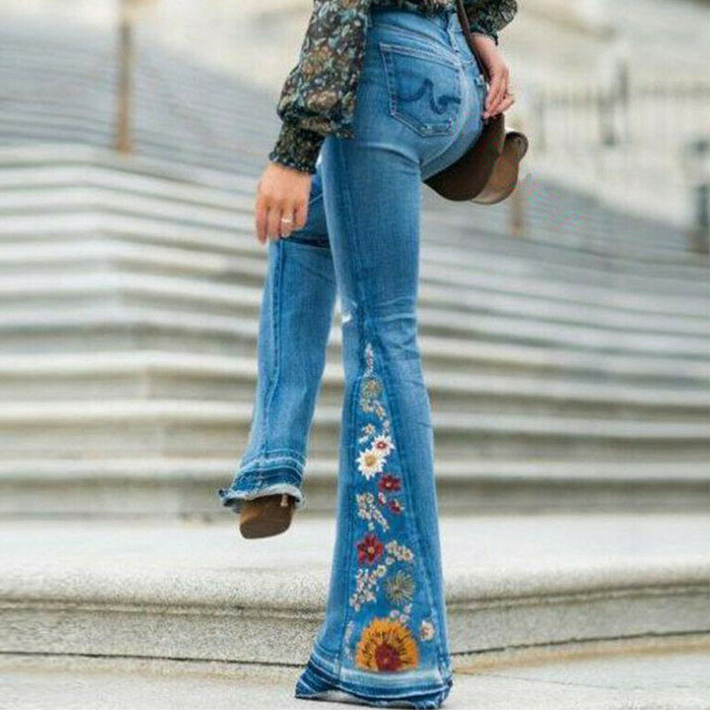 NIBESSER Ladies High Waist Flare Jeans Woman Flower Embroidery Wide Leg Jeans Pants Women Denim Skinny Flare Pants Streetwear
