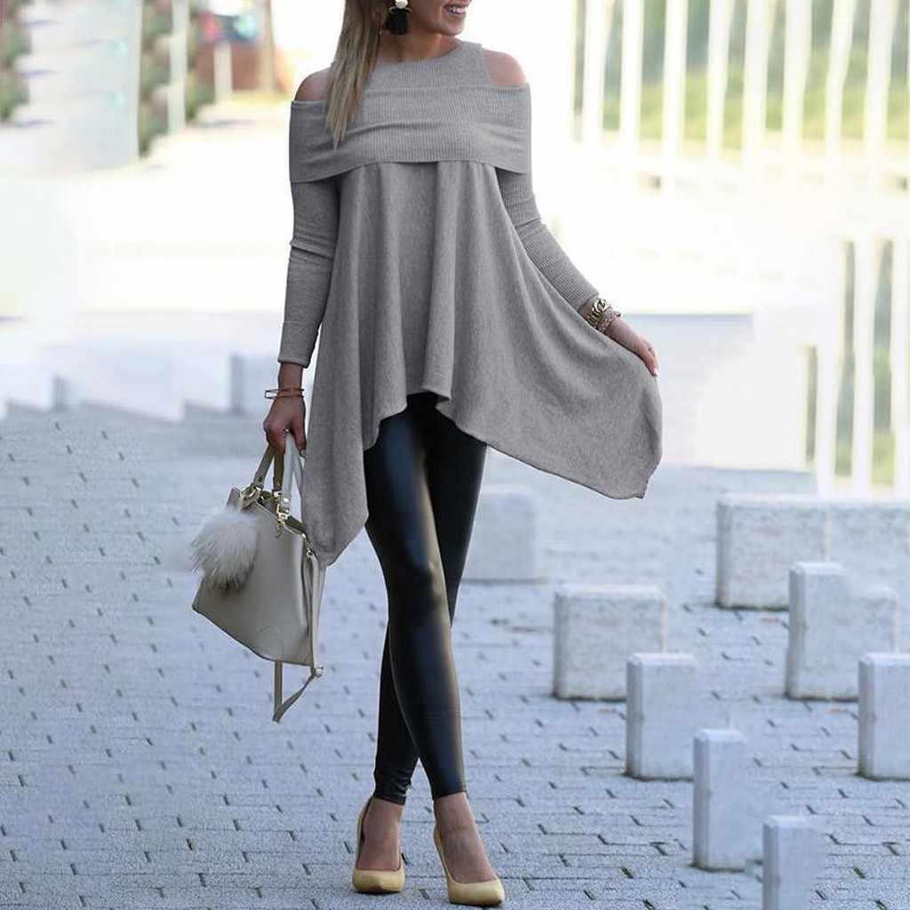 여성 메쉬 네트 블라우스 쉬어 롱 슬리브 레이디스 셔츠 블랙 프론트 솔리드 롱 슬리브 불규칙한 스웨터 루스 프린트 풀오버 탑