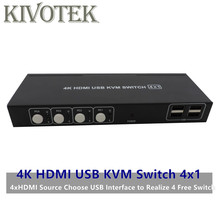 4K HDMI KVM USB Switch Switcher Adapter 4x1 3D Full HD 1080P Usb Hdmi Female Connector For PCS Laptop DVD PS3 HDTV Free Shipping