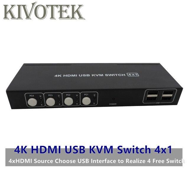 4K HDMI USB KVM Switch Switcher Adattatore 4x1 3D Full HD 1080P Usb Hdmi Connettore Femmina per PC Del Computer Portatile DVD PS3 HDTV Spedizione Gratuita