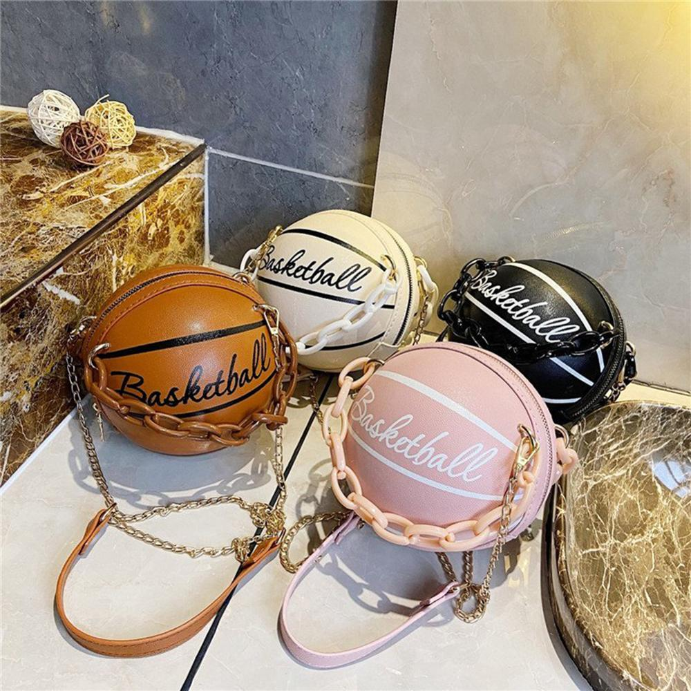 Модные баскетбольные круглые сумки через плечо для женщин, повседневные маленькие тоуты с акриловой цепочкой, мессенджеры через плечо из искусственной кожи-0