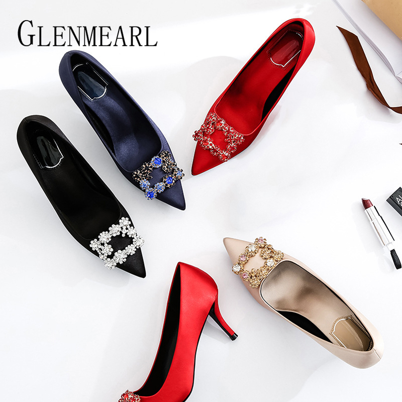 Luxury Women Wedding Shoes High Heels Rhinestone Slik Woman Pumps Pointed Toe Party Shoes Thin Heels Spring Autumn New Arrival