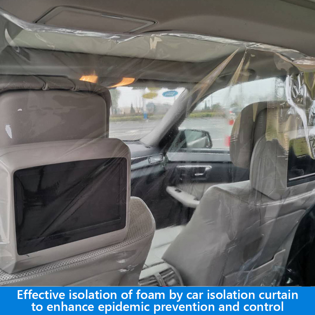 VODOOL 1.4*1.8m Transparent Car Anti Droplets Proof Isolation Screen PVC Protection Film Curtain For Uber Taxi Driver Passenger