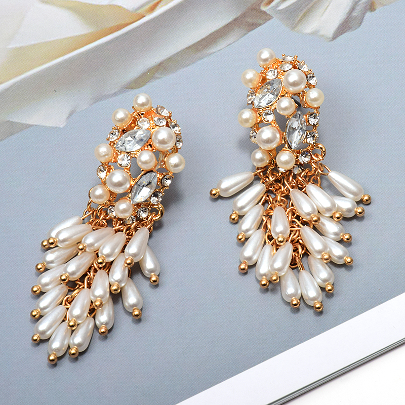 Hang Pearl Dangling Drop Long Earrings Studded With Crystal Fashion Jewelry Accessories For Women Christmas Gift