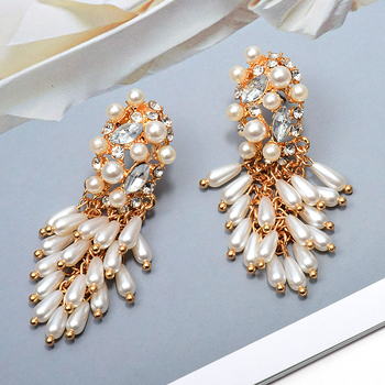 Wholesale New Hang Pearl Dangling Drop Long Earrings Studded With Crystal Fashion Jewelry Accessories For Women Christmas Gift wholesale colorful crystals long drop earrings for women fine jewelry accessories dangling pendientes bijoux christmas gift