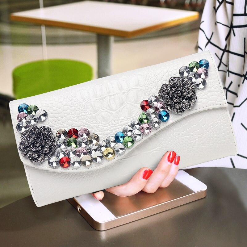 2019 nouveau diamant femmes en cuir pochette femme strass pochette mode grande capacité clip paquet soirée sacs à main