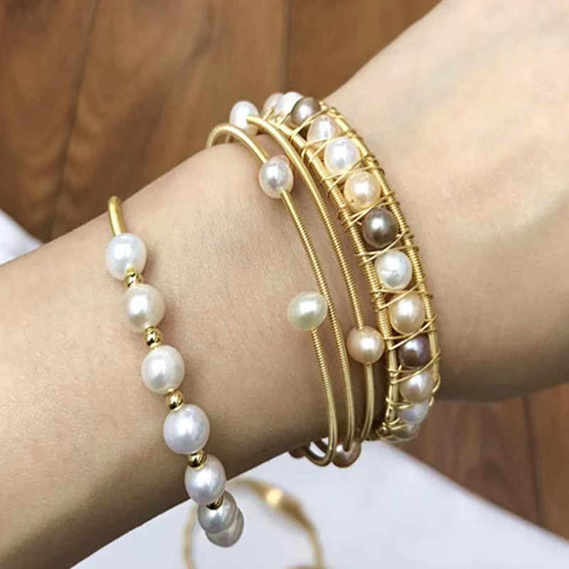adjustable bracelet gift Luxury boutique two layers 18k gold plated natural freshwater baroque pearl bracelet