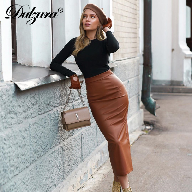 Dulzura Leather PU Women Midi Pencil Skirt Slit High Waist Streetwear Bodycon Sexy 2019 Autumn Winter Clothes Party Office Club