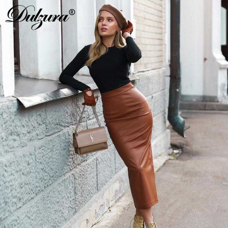 Dulzura Leather PU Women Midi Pencil Skirt Slit High Waist Streetwear Bodycon Sexy 2019 Autumn Winter Clothes Party Office Club