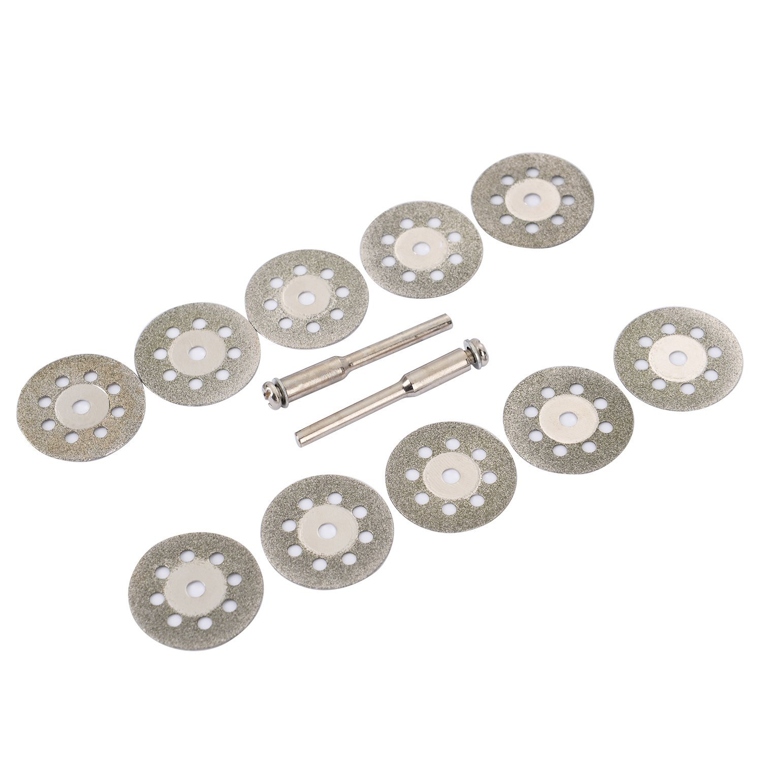 10pcs set 22mm Mini Diamond Saw Blade Silver Cutting Discs With 2X Connecting Shank For Dremel Drill Fit Rotary Tool D30 in Abrasive Tools from Tools