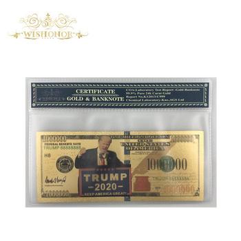 Kolor ameryka złoty banknot 2020 #8217 s Trump 100 dolarów fałszywe pieniądze cenny prezent dla domu dekoracji biznes kolekcja tanie i dobre opinie FGHGF Patriotyzmu Pozłacane Antique sztuczna 7days after you paid Souvenir collection Gold