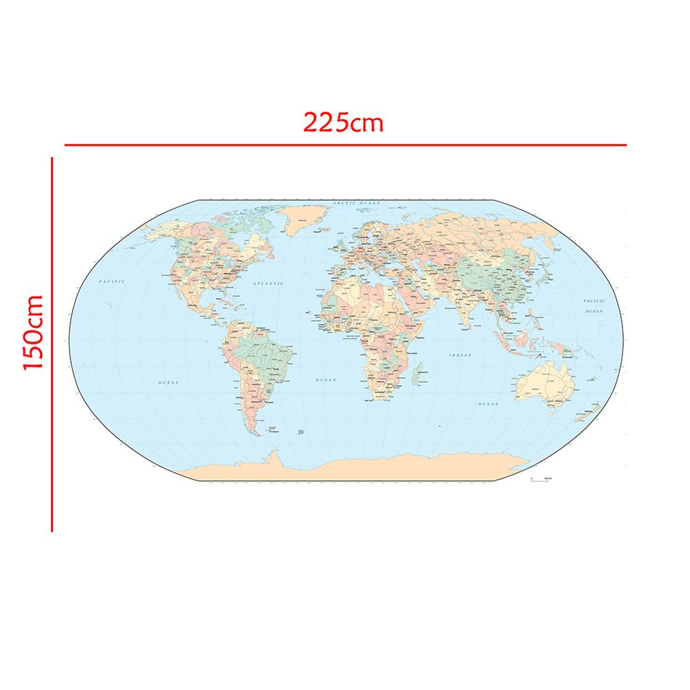 The World Map Mercator Projection 150x225cm Non-woven Waterproof Map Without National Flag For Travel And Tour