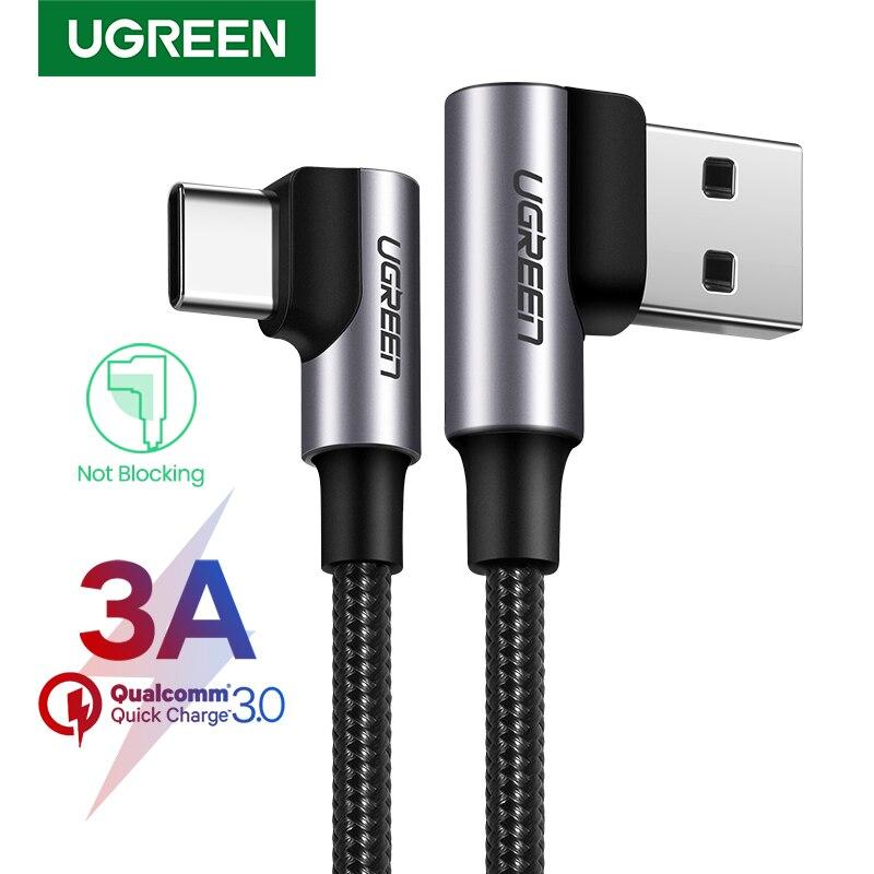UGREEN нейлон USB C кабель 90 градусов Быстрое Зарядное устройство USB Type C кабель для Xiaomi Mi 8 Samsung Galaxy S10 Plus мобильный телефон USB-C шнур