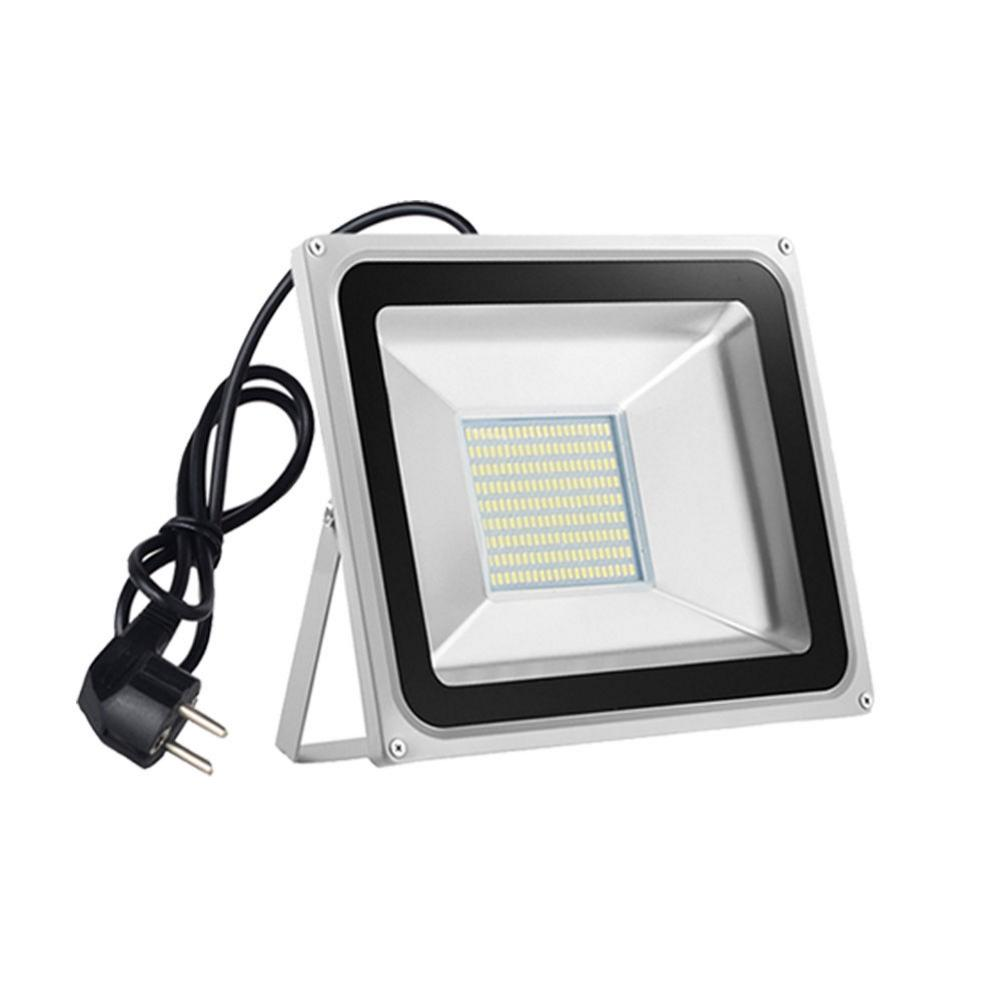 2PCS/Lot 100W LED Floodlight Cold White Gray Shell EU Plug for Garden Outdoor Lighting AC 220V Local Fast Shipping|Floodlights| |  - title=