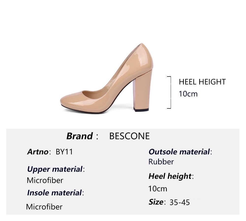 BESCONE スタイリッシュな女性が成熟したスリップオン女性新手作り 10 センチメートル超高ヒール浅いオフィスパンプス BY11