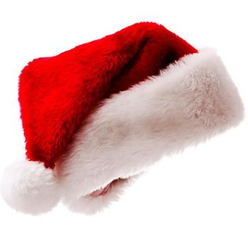 Pluszowe boże narodzenie czapki świąteczne czapka świąteczna dla świętego mikołaja boże narodzenie kapelusz kobiety mężczyźni czerwony święty mikołaj kapelusz wysokiej jakości miękki tanie i dobre opinie CN (pochodzenie) Dla osób dorosłych Tkanina Christmas Decoration