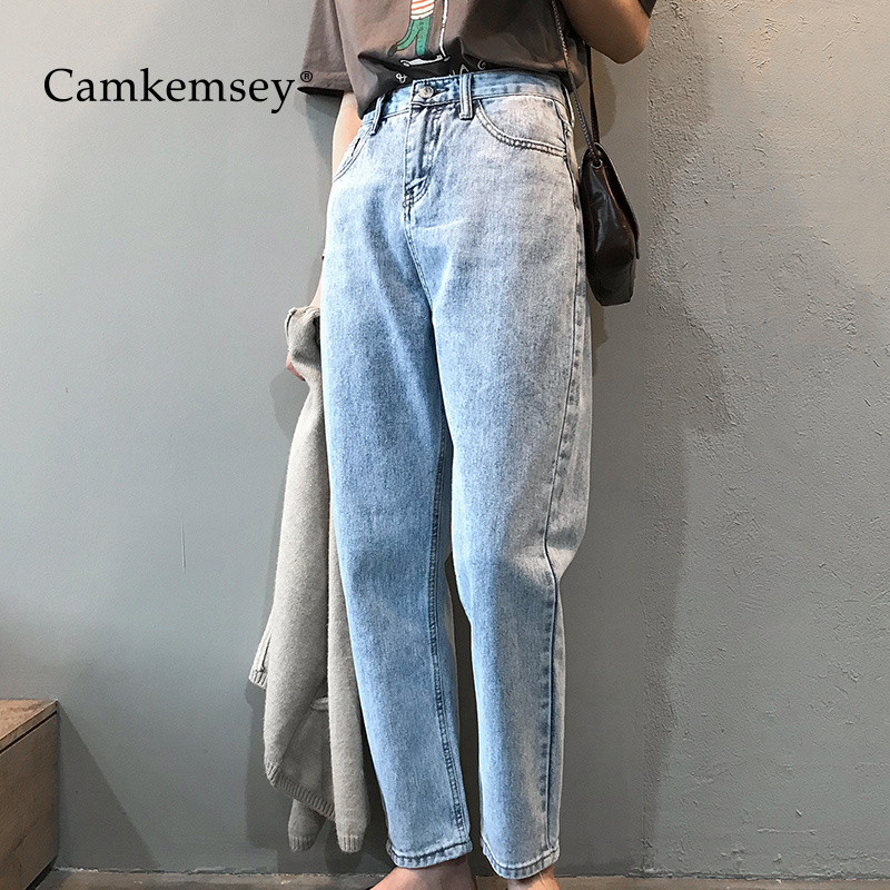 Camkemsey Korean Retro Mom Jeans Woman 2020 Casual High Waist Ankle Length Spring Loose Harem Pants